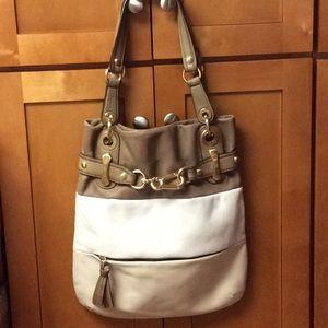 b. Makowsky Leather Colorblock Shoulder Tote Bag